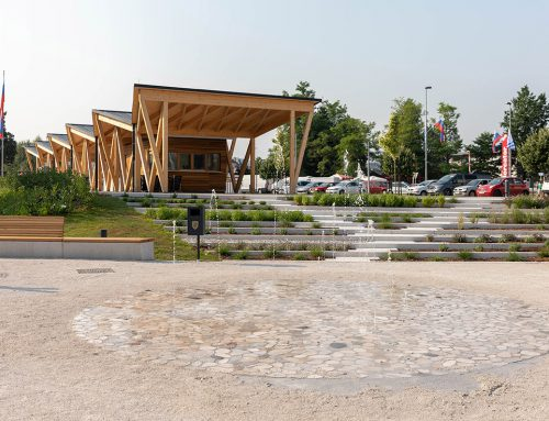 THE ARRANGEMENT OF AN OPEN MARKET, PARK AND A MULTI-PURPOSE PLATFORM IN MEDVODE by 3biro; Slovenia